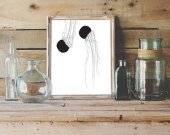 Jellyfish Printable, Jellyfish Art, Black and White Art, Jellyfish Silhouette Print, Digital Print, Instant Download, Sea Animal Download