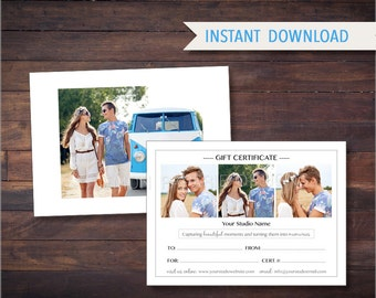5x7 & 4x6 GIFT CERTIFICATE Photoshop Template - Instant Download - GIFT01
