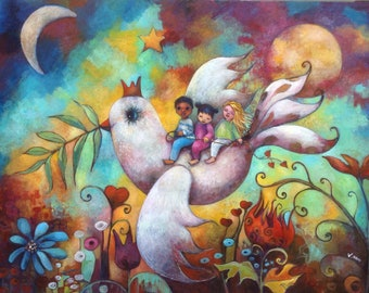 Tender message. Painting on wood 80 x 110 cm. Unique hand painted. Love, asia, children, peace.