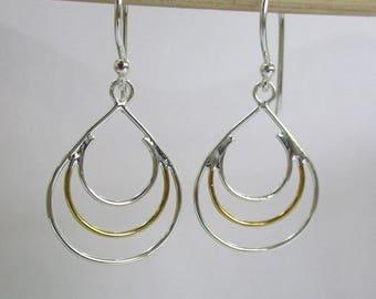 Two Tone Sterling Silver Earring- Minimalist Sterling 925 Silver Earring - Three Circle Earring - Lightweight silver Dangle Earring- PCE02