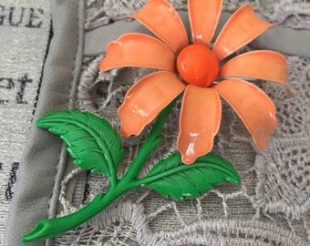 Vintage 60s Mod Metal Enamel Flower Brooch, Orange Daisy Pin