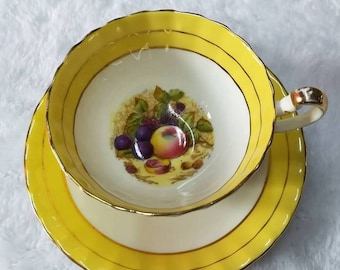 Ansley orchard fruit vintage  yellow tea cup
