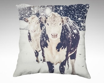 Winter Pillow Cover, Velveteen Pillow, Cow Pillow, Snow, White, New England Snowstorm, Farm Animal Pillow, Living Room Decor