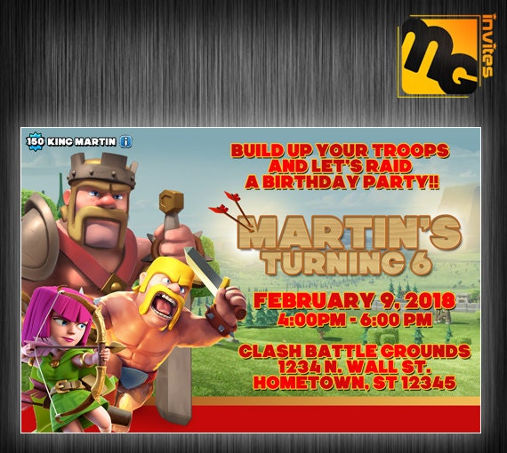 Items similar to Clash of clans birthday Clash of clans invite