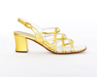 60s vintage Gold Heels slingback sz US womens 7 7.5 7 1/2 strappy open toe Cage low Metallic 1960s mod style sandals Cointrelle
