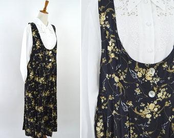 Vintage 1990's Black Floral  Pinafore Dress - Sleeveless Loose Frock Style  Spring Dress - Spring Mori Girl Dress - Size Large to XXLarge