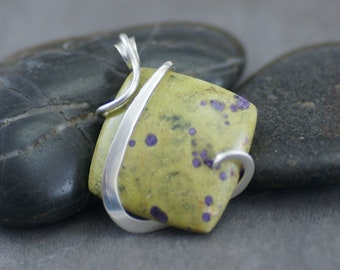 Atlantisite Square Cold Forged Sterling Silver Pendant