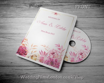 """Printing Service. DVD/CD Case, Cover and Disc. Classic Wedding DVD label, Insert & Printed Disc. Your own Text. """"Pink"""""""
