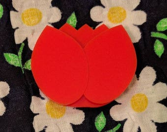 Trudy's Tulip in Red Acrylic Brooch