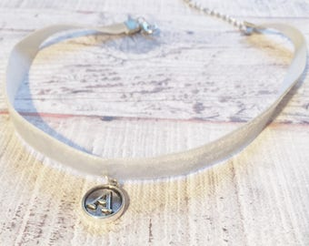 Silver Alphabet Personalised Choker Necklace Grey Girlfriend Christmas Gift Jewellery Friendship