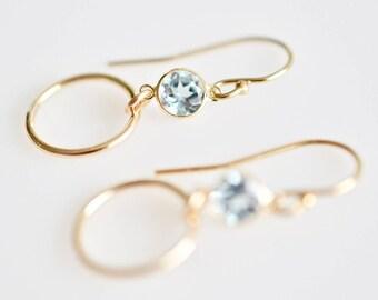 Blue Topaz Circle Drop Earrings, Dainty Dangling Hoop Earrings, Blue Topaz Gemstone Drop Earrings