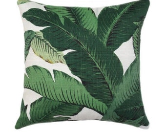 Dark Green Tropical Jungle Zippered Pillow Cover, Large Leaves Outdoor Throw Pillow, Dark Green Banana Leaf Pillow Cover, Swaying Palms Aloe