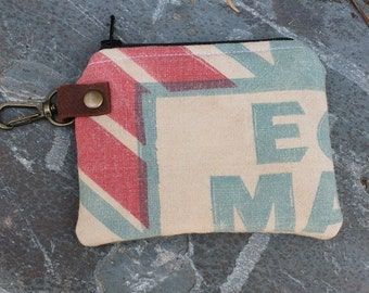 Vintage Master Mix Feed Sack Zipper Pouch | Upcycled | Repurposed | Feedsack Pouch | Coin Pouch | Keyring Pouch