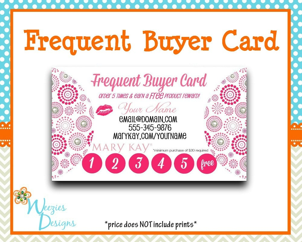 Mary Kay Frequent Buyer Card Business Card Direct Sales