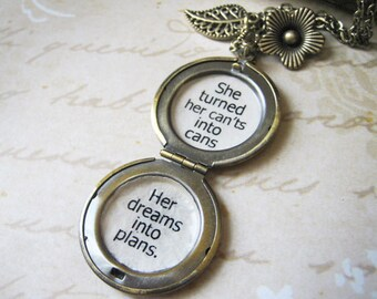 locket she turned her cants into cans her dreams into plans womens necklace with inspirational quote pendant message