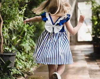 Organic Cotton Blue & White Striped Girl dress Big Bow Sundress - Vertical Stripes Summer dress