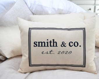 2nd anniversary cotton anniversary pillow, Personalized Pillow, housewarming gift, builder gift