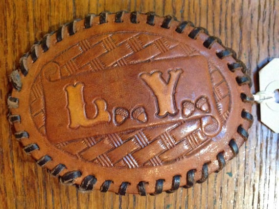 Vintage 1970s 70s tooled leather belt buckle initial L Y acorns made in USA