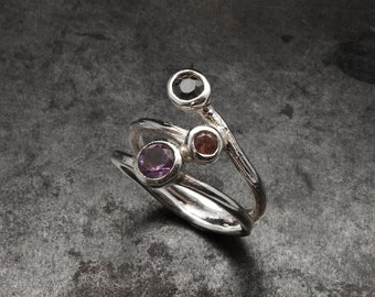 Sterling Silver Gemstone Ring, Amethyst Tourmaline Smoky Quartz Stone Ring, Twist Multistone Ring, Elegant Cocktail Ring, Ring Gift for Her
