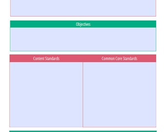 Editable Lesson Plan - Daily, Teal and Pink