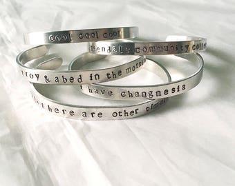 Community Inspired Bracelets • Community Stamped Bracelets • Stamped Bracelets • TV Bracelets