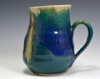 Handmade pottery mug. 16 oz. Stoneware Mug Coffee Mug.  Blue green ceramic coffee mug .