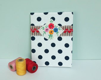 Composition Book & Handmade Cover Sewn from White Fabric with Navy Blue Polka Dots, Red Rick Rack and Ticking Stripes, Reusable