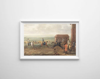 Small Watching Racehorses Print - Kids Room Wall Art