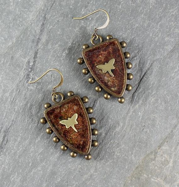Bohemian Chic ~ Rustic Romantic ~ Dragonfly ~ Shield earrings