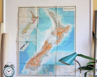 New Zealand Original Map - Vintage Map of New Zealand - Old Physical Map - School Map - Geography Gift - Map Gift - Map Decor