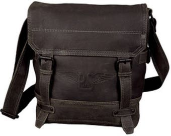 Shoulder bag with notebook compartment, leather, black-gray