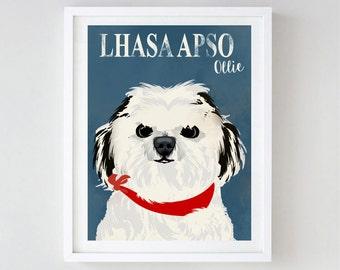 Lhasa Apso Dog - Fine art print , dog decor, pet dog, art,  illustration, Lhasa Apso