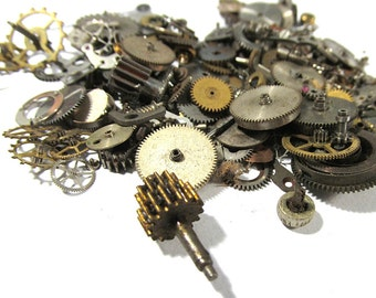 20g Watch Parts VINTAGE Watch Parts STEAMPUNK 20 Grams Mechanical Movements Plates Watch Gears Jewels Watch Jewelry Art Supplies (L327)