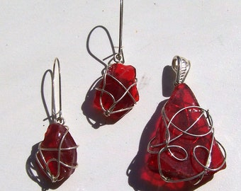 RED Sea glass and wire... jewelry set