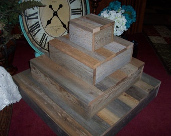 rustic cupcake stand , 4 tier cupcake stand,  wood cupcake stand , rustic wedding, cupcake Box,  Barn wood cake stand, wedding reception