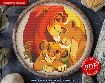 Modern Cross Stitch Pattern of Lion the King for Instant Download *P065 | Easy Cross Stitch| Counted Cross Stitch|Embroidery Design