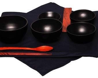 Mango Wood Black Oryoki Jihatsu Bowl Sets