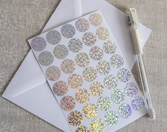 """0.75"""" silver holographic sticker, hologram circle sticker, vinyl circle label, round letter envelope seal, self adhesive gift packaging"""