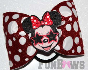 Awesome Minnie Mouse polka dot LED Glo Cheer bow by FunBows !