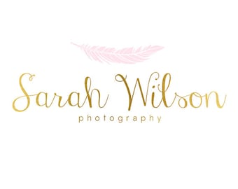 Premade Logo Design & Photography Watermark - Feather Logo - Gold Logo - Feather Watermark - Whimsical Logo -  Whimsical Watermark 777