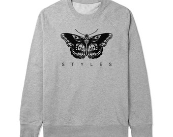 Styles Butterfly Tattoo - Gray/White Unisex Sweater - SWEATER-039