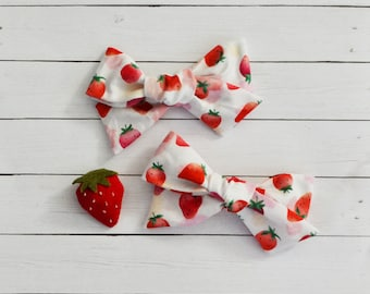 Strawberry Watercolor Red Hand-tied Simple Fabric Bow Nylon Elastic or Alligator Clip