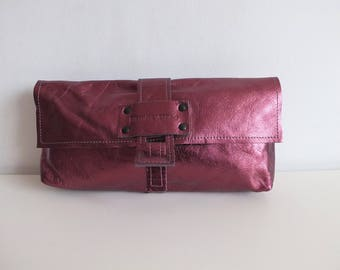 Stephane Verdino/clutch leather/woman/evening/leather wallet clutch iridescent pink/clutch bag/clutch purse/women's bag leather/chic/boho/new year
