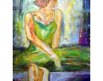 Abstract Figurative Woman Portrait Girl Painting Original Art 48x36 by Luiza Vizoli SUMMER AFTERNOON
