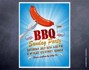BBQ Barbeque Summer Party Flyer Invitation Printable Digital