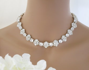 Statement wedding necklace, Swarovski crystal necklace, Rhinestone collar bridal necklace, Crystal flower necklace, Mother of Bride necklace