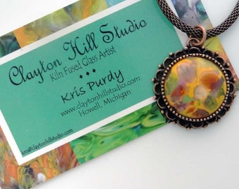 Fused Glass Necklace - Antique Copper Yellow