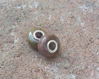 Memorial Bead - Custom Keepsake Stoneware Pottery Pet Cremains Bead - Large Hole for Charm Bracelets - EUROPEAN STYLE Rondelle