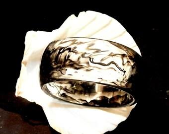 Lucite Black And Clear Bangle Bracelet, Vintage Black Bracelet, 1970 Lucite Bracelet, Smokey Bangle Bracelet, Gift For Her