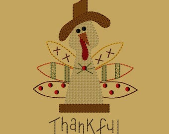 MACHINE EMBROIDERY-Thankful Turkey-Motif 5x7-Instant Download